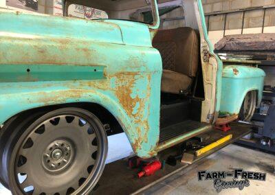 Detroit Steels on the 1959 Chevy Apache by Farm Fresh Garage